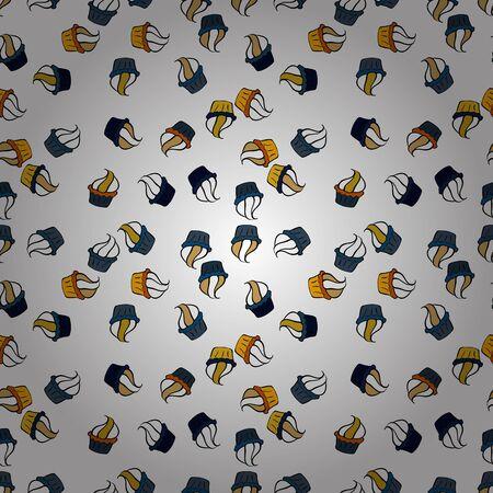 Vector illustration. Seamless.Cupcake vector pattern. Happy birthday cupcake background in blue, black and white. Muffin. Cupcake pattern background. Çizim