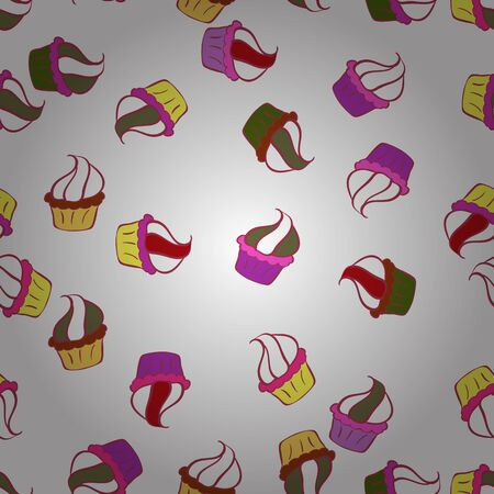 Cake muffin cute seamless pattern. Nice birthday pattern on yellow, white and red. For food poster design. Vector.