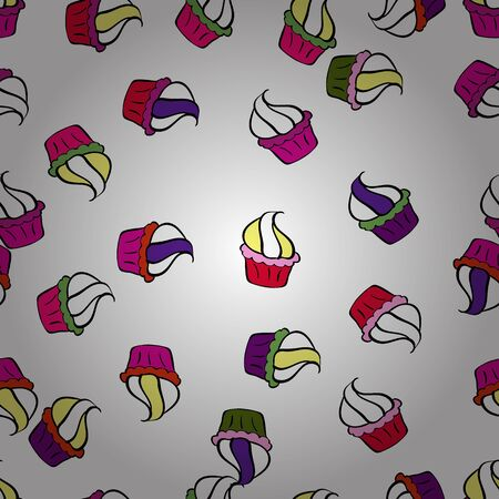 Vector illustration. Wrapping paper. Seamless pattern of cupcakes on a white, magenta and black background.