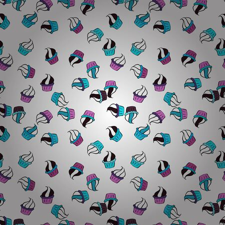 Seamless with cupcakes. Wrapping paper. For food poster design on white, black and blue. Vector illustration.