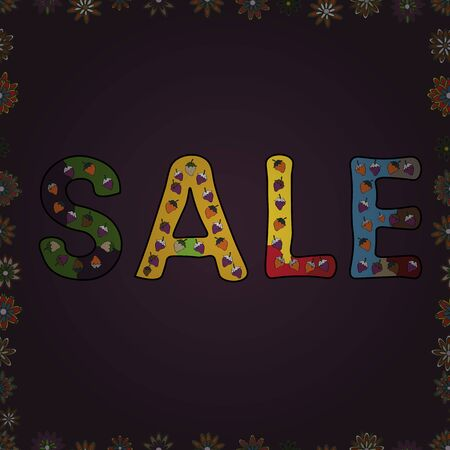 Marketing banners in trendy design. Vector illustration. Seamless. End of season sale. Word SALE off text. Picture in purple, yellow and green colors. Vivid marble texture vector frames.