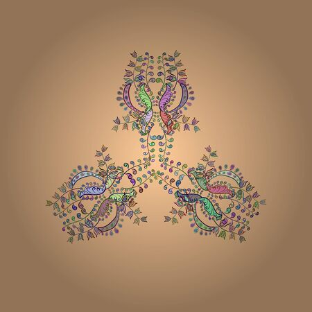 Hand painted vector mandala, colored on neutral, beige and green colors, indian peacock, indian pattern, colored mandala, mandala peacock.