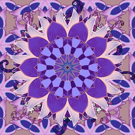 Vector illustration. Vector illustration. Seamless flowers pattern. Flowers on neutral, purple and violet colors. In asian textile style. Foto de archivo - 137887767