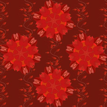 Flat Flower Elements Design. Cute flowers pattern with orange, red and pink colors. Colour Spring Theme seamless pattern Background. Vector Fashionable fabric pattern.