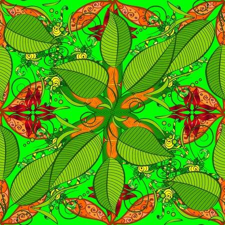 Seamless pattern with flowers and exotic leaves on brown, green and orange background. Vector. Botanic Tile. Flower. Brown, green and orange floral pattern for sketch or fabric.