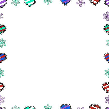 Decorative vintage frames and borders. Doodles pattern style. Border design is pattern in doodles art style. Seamless pattern. Vector. Çizim