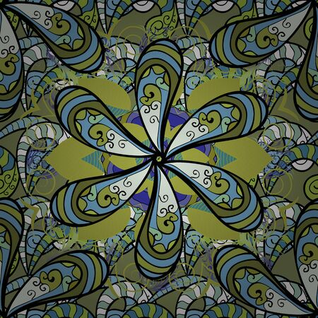 Seamless pattern with bright flowering carpet of plants on a blue, green and black colors.