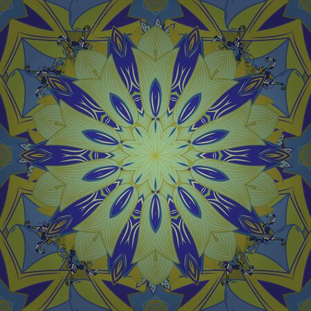 Abstract Mandala on a neutral, yellow and blue colors. Vector illustration.