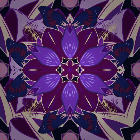 Cute floral pattern in the small flower. Abstract seamless pattern on beige, violet and purple colors with bright flowers. Elegant vector texture with floral elements.