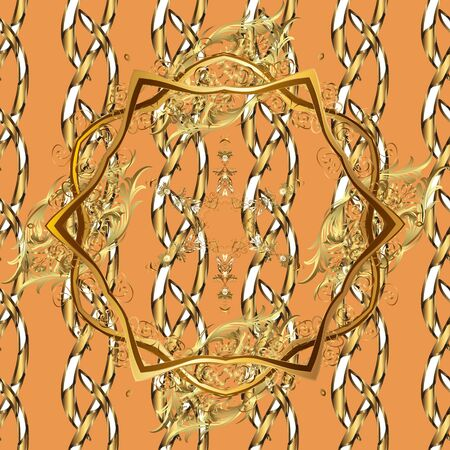 Floral ornament brocade textile pattern, glass, metal with floral pattern on brown and orange colors with golden elements. Classic vector golden seamless pattern.