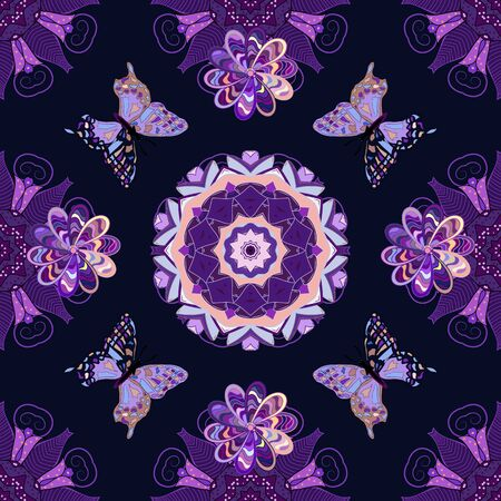 Vector illustration. Beauty in Nature. Background for Fabric, Textile, Print and Invitation. Seamless pattern with Flying Butterflies in Watercolor Style.