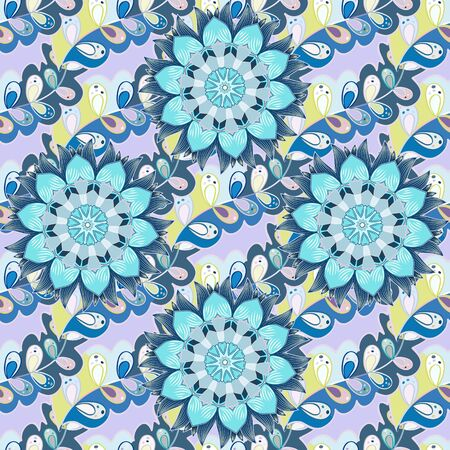 Flowers on blue, gray and neutral colors. In asian textile style. Vector illustration. Vector illustration. Seamless flowers pattern.