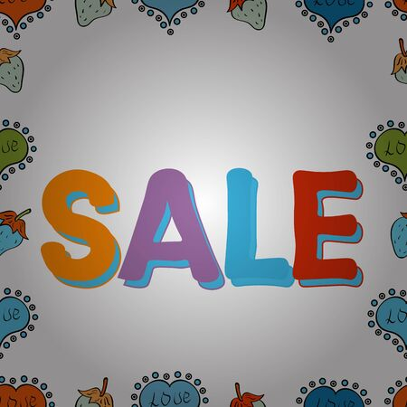 Sale banner template design. Vector. Simple patches, poster, badges in cute art style. Illustration in blue, white and orange colors. Seamless. Lettering.