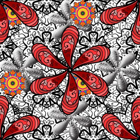 Flowers on black, gray and white colors. Cute Floral pattern in the small flower. Vector illustration.