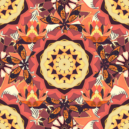 Spiritual and ritual symbol of Islam, Arabic, Indian religions. Mandala on orange, beige and pink colors. Geometric circle element in glod colors. Vector Round Ornament Pattern.