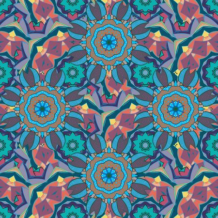 Vector illustration. Flowers on blue, neutral and pink colors. Seamless pattern with floral ornament. Ilustração