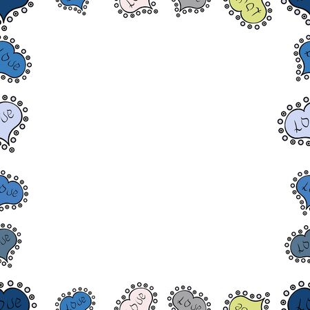 Square frames doodles. Vector illustration. Seamless pattern. Illustration in neutral, blue and white colors. Illustration