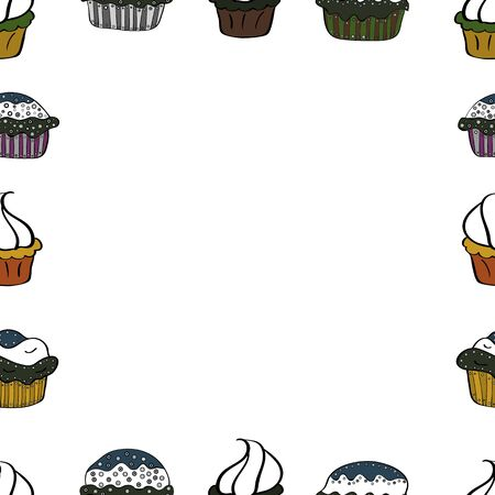 Seamless pattern. Vector illustration. Hand-drawn doodle frames.Illustration in black, gray and white colors. Çizim