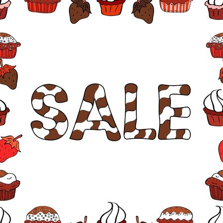 Vector Advertising pictures in white, red and brown colors. Hot Summer Sale Banner Design. Hand Drawn Text on cute Background. Seamless.