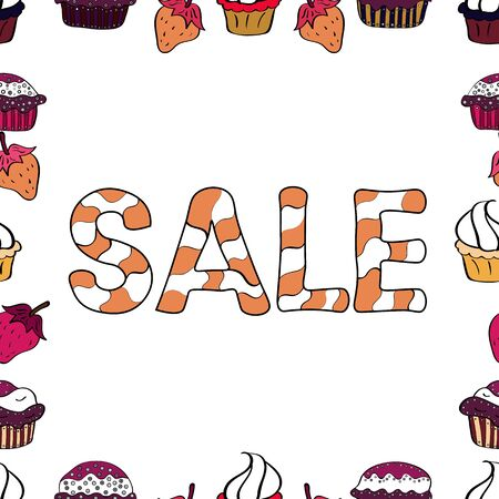 Seasonal discounts set. Ornate vector colorful elements frame. Lettering. Picture in white, black and orange colors. Sale. Seamless pattern.