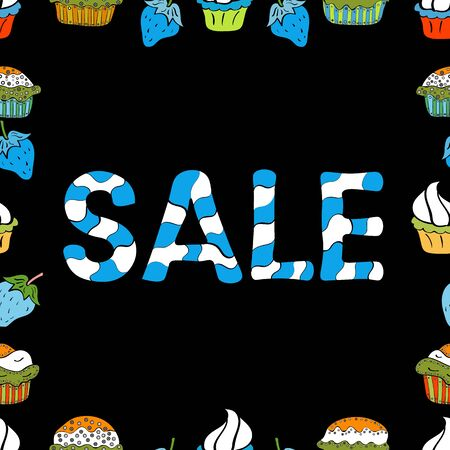 Collection with trendy backgrounds for your project, sale, frame, animation, advertisement. Sale lettering in blue, black and white colors. Simple poster, patches, badges in pop art style. Vector. Çizim