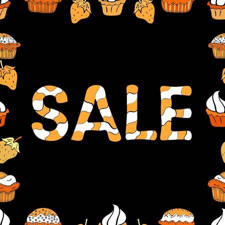Vector illustration. Lettering. Illustration in orange, black and white colors. Sale tags set on a orange, black and white background. Seamless. Çizim