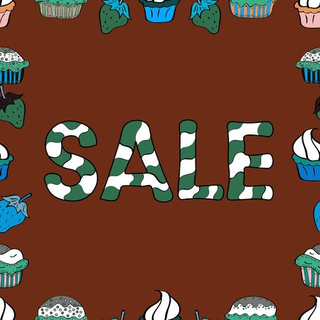Sale banner template design, Big sale special offer. Seamless. End of season special offer banner. Vector illustration. Picture in green, brown and white colors.