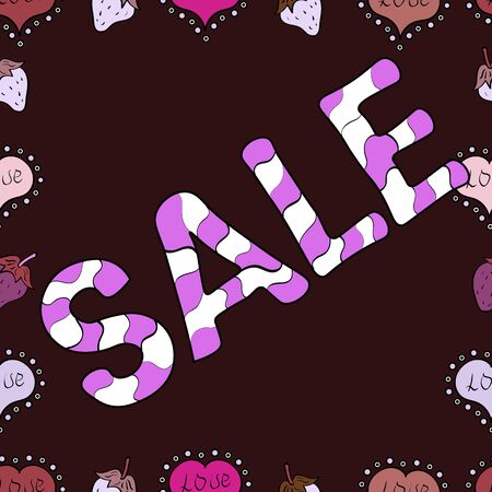 Lettering. Vector. Spring sale banner design, special offer for online shopping.Illustration in white, brown and violet colors. Seamless.
