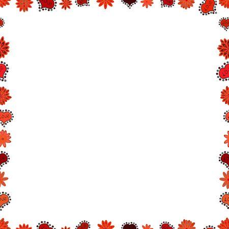 Seamless pattern. Vintage doodle sketch picture frame doodle labels. Vector. Hand drawn frames. Blank orange, red, white square cadre rectangle label elegant sketches painted by hands scribble border.