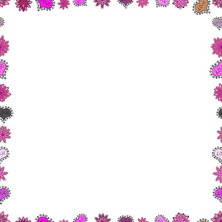 Seamless pattern. Hand drawn vector border frame doodles. Vector. Çizim