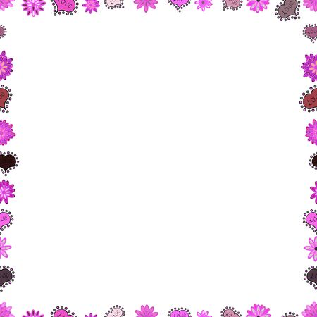 Picture in violet, white and pink colors. Seamless. Quadratic frames doodles. Vector. Çizim