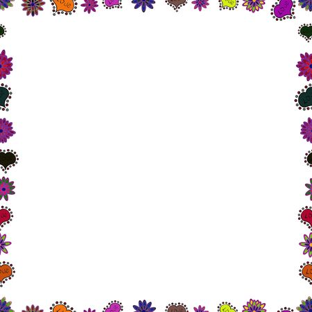 Seamless pattern. Doodles elements hand drawn frames. Vector. Picture in black, white and violet colors.