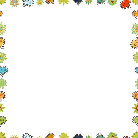 Seamless pattern. Vector illustration. Doodle frame. Illustration in green, yellow and white colors.