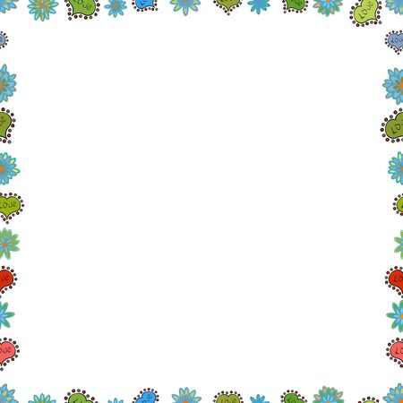 Vector illustration. Seamless pattern.Hand drawn doodle frames. Illustration in green, white and blue colors. Çizim