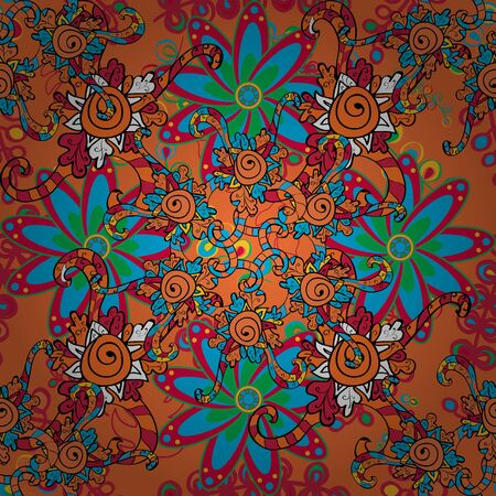 Bright floral collage blossom flowers orange, blue and black. Amazing collage paradise style for floral design. Blossom lilies seamless background.
