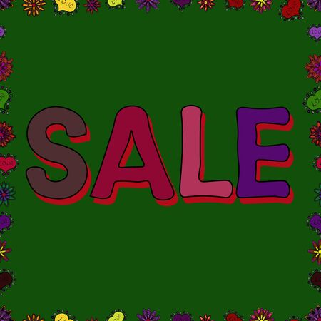 Seamless. Sale banner template. Lettering. Lettering in black, red and green colors. Vector illustration.