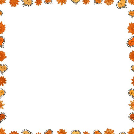 Doodles frame consists of white, black and orange border. Seamless pattern. Vector Background seamless pattern with hand drawn Frame doodle.