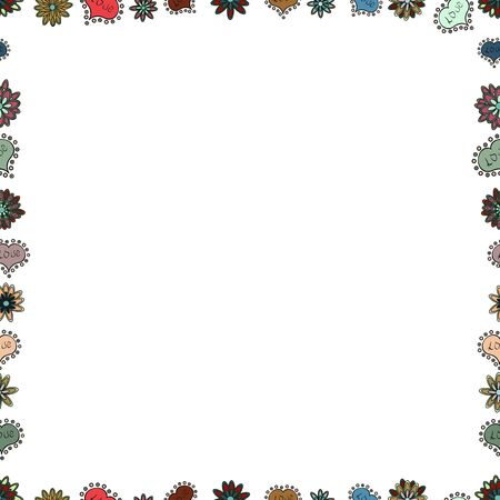 Seamless pattern. Vector. Picture in white, gray and blue colors. Doodles elements hand drawn frames.