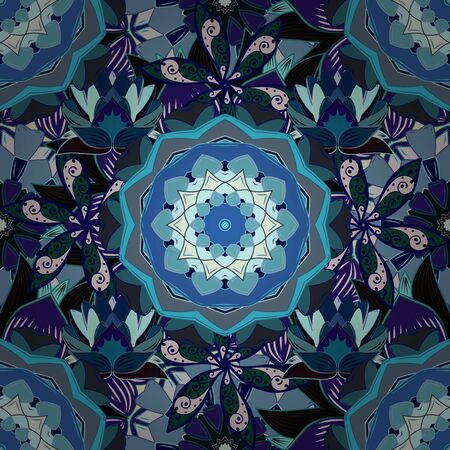 Vector illustration. Colored round floral mandala on a gray, blue and neutral colors. For textile, invitations, banners and other. 向量圖像