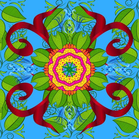 Flowers on red, green and blue colors in watercolor style. Seamless floral pattern with flowers on red, green and blue colors.
