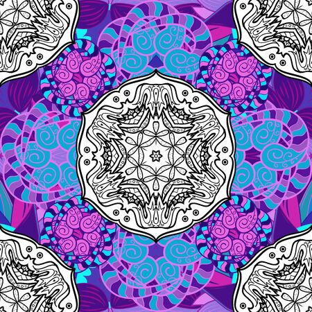 Seamless pattern mehndi floral lace of buta decoration items on blue, white and violet colors. Vector floral wedding decorative elements.