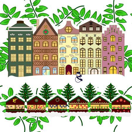 Holidays Vector illustration. Evening city winter landscape with snow cove brown, green and white houses and christmas tree.