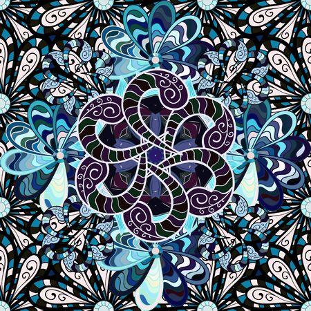 Fleurs sur des couleurs noires, neutres et bleues. Motif floral sans soudure en illustration vectorielle.