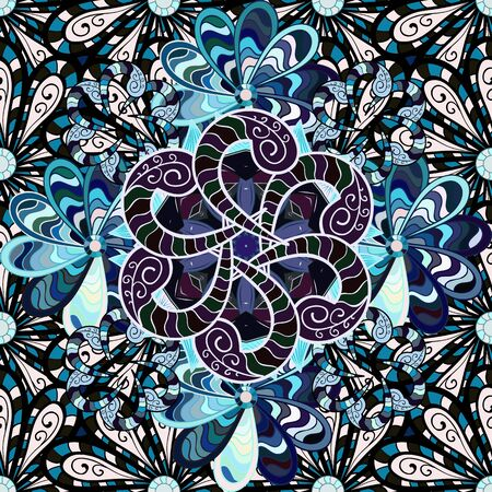 Flowers on black, neutral and blue colors. Seamless Floral Pattern in Vector illustration.