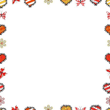 Seamless. Vector Background seamless pattern with hand drawn Frame doodle. Doodle frame consists of black, red and white border.
