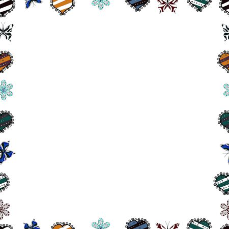 Vector illustration. Illustration in blue, black and white colors. Seamless pattern.Hand drawn doodle frames. 일러스트
