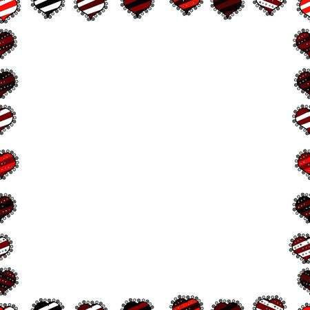 Picture in red, black and white colors. Seamless. Quadratic frames doodles. Vector. Vektoros illusztráció
