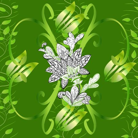 Leaves on black, white and green background. Branches and herbs with leaves. Hand drawn vector decorative elements for your design. Seamless. Ink illustration.