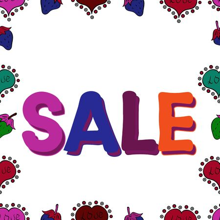 Sale. Vector. Picture in blue, purple and white colors. Seamless. Premium handmade. Lettering and calligraphy phrase for greeting card, t-shirt, invitation, prints, social media, banners and posters. Illusztráció