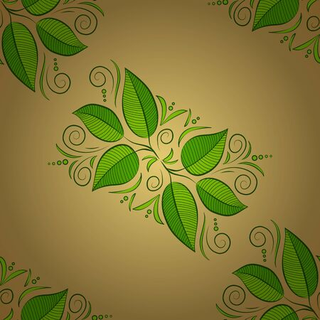 Nice leaves on beige, green and yellow colors. Handmade seamless watercolor floral indian pattern tile. Vector. Millefleurs hand made design. Fantasy abstract, tulips, flores, leaves illustration. 일러스트
